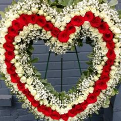 Red & White Rose Open Heart