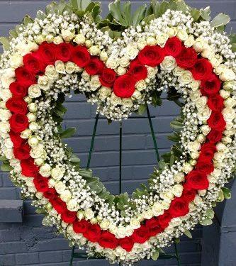 Red & White Rose Open Heart