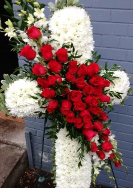 Red Rose & White Orchid Cross