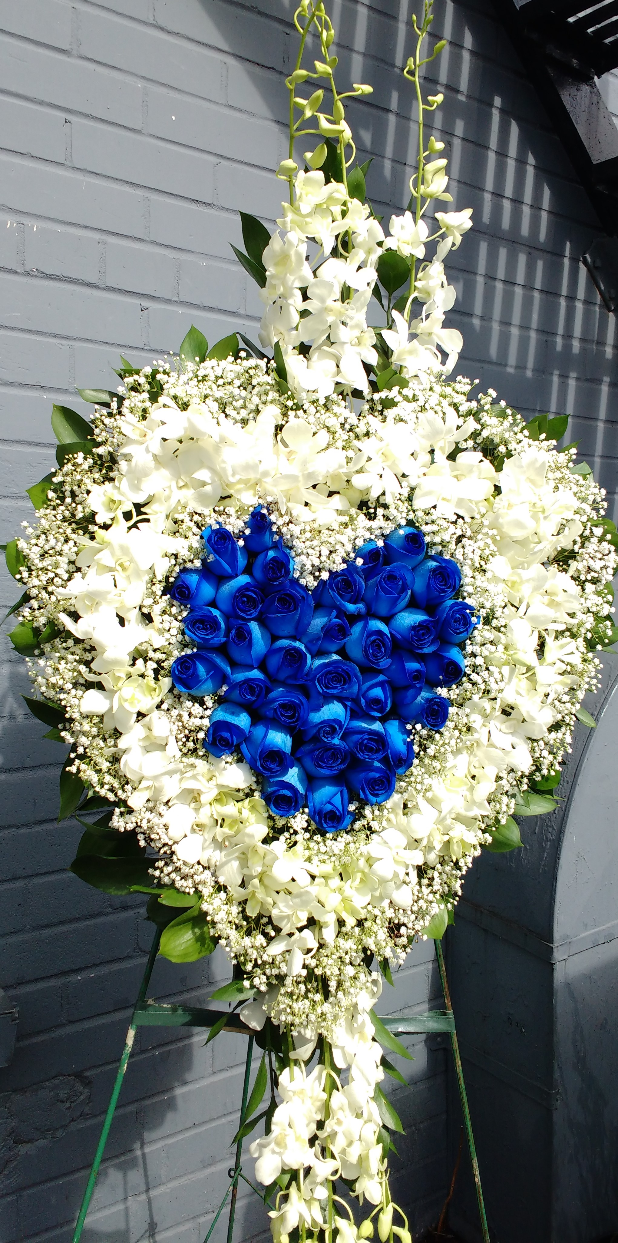 Large Solid Lily & Rose Heart