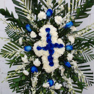 Blue & White Cross Standing Spray