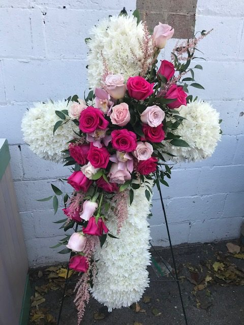 Large 36 inch Cross with Mixed Pinks