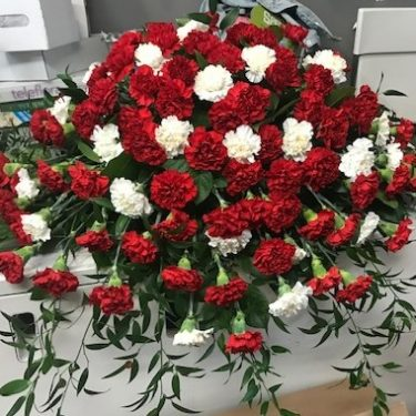 Red and White Carnation Casket Spray