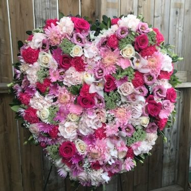 Large Mixed Pinks Solid Heart