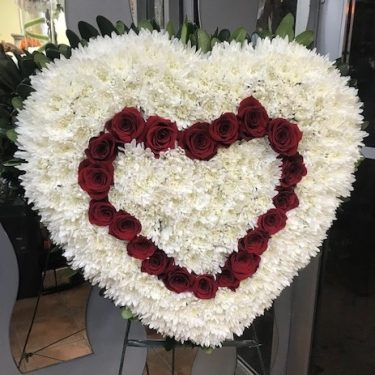 Large Solid Heart with Red Rose Center